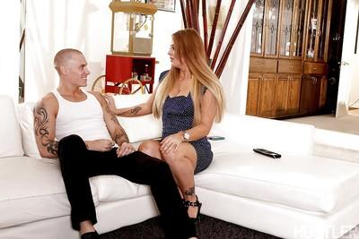Blonde cougar Holly Heart gives up asshole to younger man while gf watches
