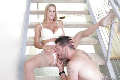Busty blonde MILF Alexis Fawx receiving hardcore fucking of hairy snatch