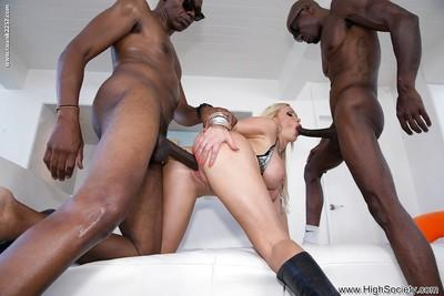 Hung black studs stand no chance against busty milf Nikki Benz