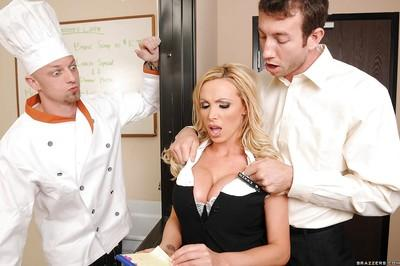 Sweet MILF Nikki Benz loves to get a tit play in uniform