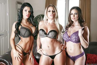 Top rated pornstars Kendra Lus, Kissa Sins and Peta Jensen model lingerie