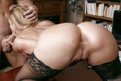 Blonde mom Cherie Deville having her big fun bags squeezed and played with