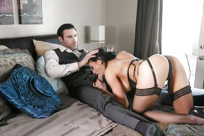Hot lingerie attired MILF wives Audrey Bitoni and Nicole Aniston giving bj