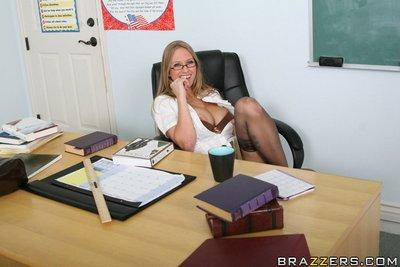 MILF teacher in glasses Abby Rode loves touching herself and fucking