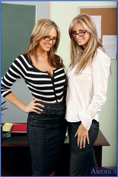 Blond MILF teachers Brooke Banner and Julia Ann revealing hooters