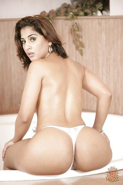 Latina MILF babe Mayara Shelson is showing off her butt in lingerie