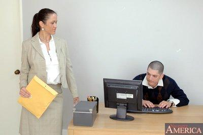 Elegant office MILF Carmella Bing pounded hardcore on her working desk
