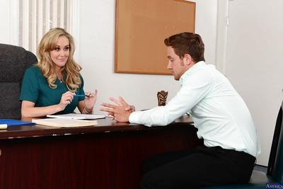 Milf secretary Brandi Love has her mouth fucked hard in the office