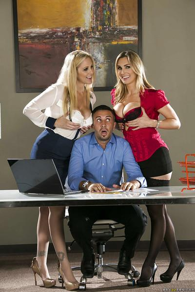 Big busted ladies seduce their office mate to play with his big dick