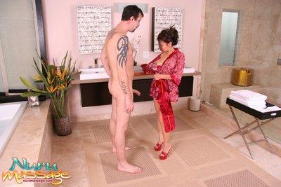 Asian milf with big tits Jackie Lin takes bath and swallows dick