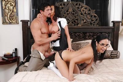 Ariella Ferrera and Tia Cyrus are demonstrating their blowjob skill