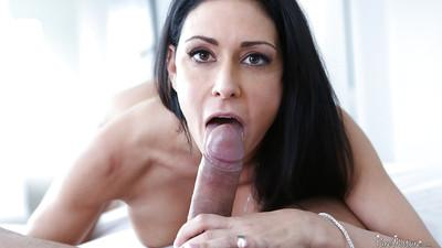 Brunette milf Jessica Jaymes is licking this tasty dick on cam