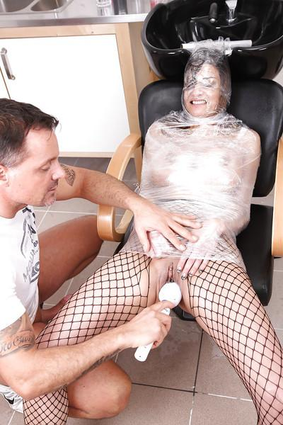 Hungry milf Klarisa Leone gets wrapped by plastic bag and fucked