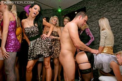 Jizz-starving european MILFs collecting cumshots at the wild groupsex party