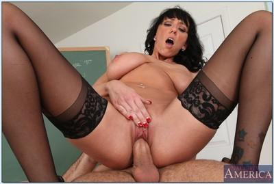Slutty MILF teacher Alia Janine gives a titjob after hardcore fuck