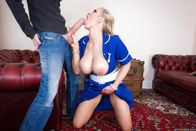 Dick loving blonde nurse Rebecca Moore playing with a rock solid boner