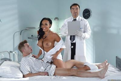 European milf Rio Lee is fucking her patient in a nurse uniform