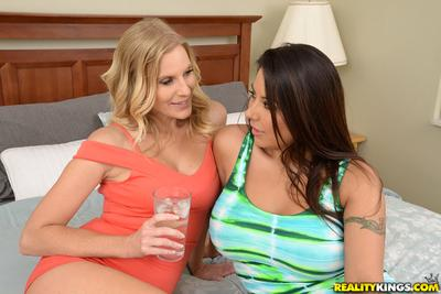 Pussy hungry MILF lesbos Brianna Ray and Candi Coxx lick each other