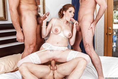 Slutty bride Allison Moore is into foursome groupsex with well-hung guys