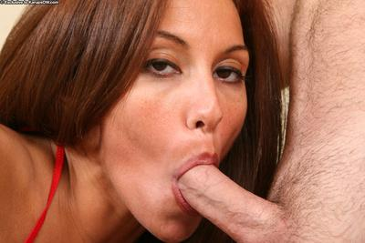 Slender MILF gets throat fucked for her mouth full of cum