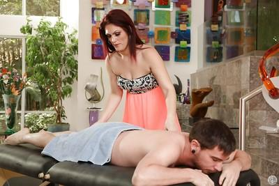 GI Jen making a sensitive massage for her friend and enjoying his dick
