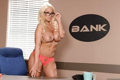 Boob model Bridgette B undoes blouse to let huge natural juggs loose