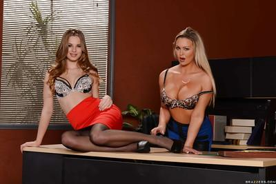 Lesbian secretaries Jillian Janson and Abbey Brooks make out at work