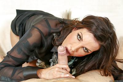 MILF Shay Sights licking and sucking cock from POV perspective