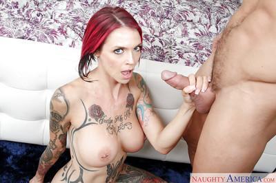 Tattooed fetish model Anna Bell Peaks having large tits and nipples sucked