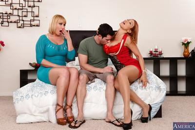 Two hardcore cougar milfs giving blowjobs and licking pussies
