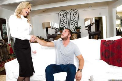 Blonde cougar Brandi Love delivers POV blowjob upon younger man