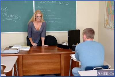 Busty teacher in glasses Heidi Mayn takes huge dick in her MILF pussy