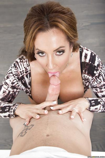 Busty MILF Richelle Ryan gives a sweet tit fucking and blowjob