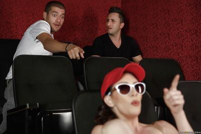 Brunette slut RayVeness goes topless in movie theater and gives bj too