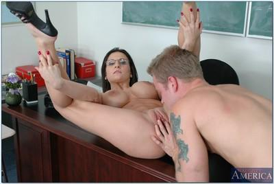 Appealing MILF teacher Austin Kincaid stripping and fucking a stud