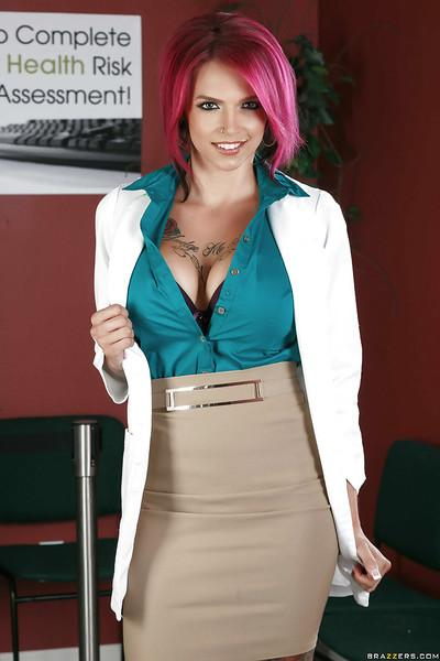 Redhead pornstar Anna Bell Peaks unleashing huge knockers at work
