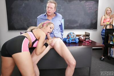 Capri Cavanni and Scarlet Red are sucking their teacher