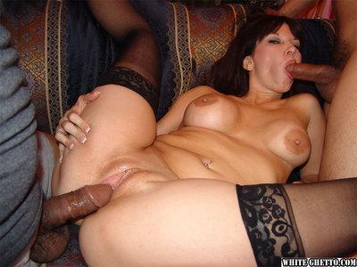 Hardcore fuckers are drilling slutty Asian milf Carrie Ann in her anal