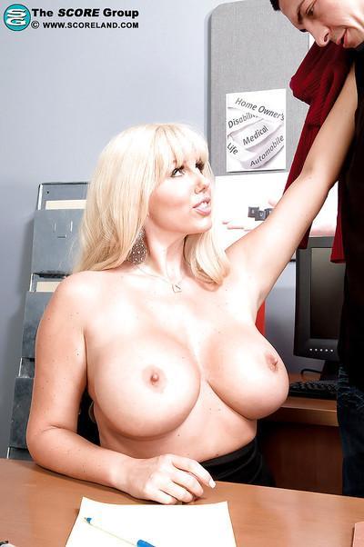 Lusty MILF secretary with huge tits Karen Fisher fucked in office
