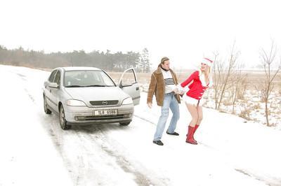 Blonde MILF in christmas outfit Jane Darling gets slammed outdoor