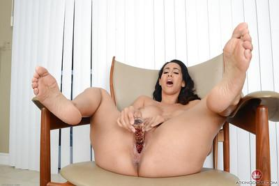Latina mummy Isis Love using large sex toy to masturbate horny pussy