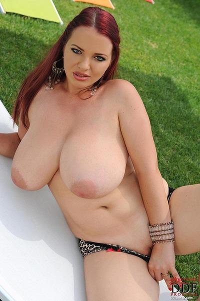Chubby MILF with huge jugs Joanna Bliss taking off her lingerie outdoor