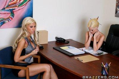 Slutty MILFs Tanya James and Brandi Edwards sharing a big dick