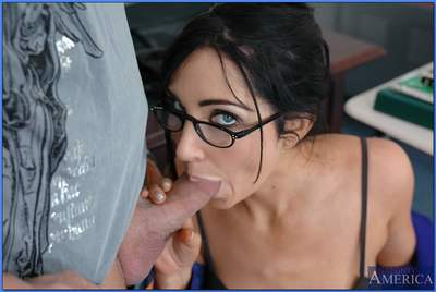Gorgeous teacher in glasses Diana Prince taking huge dick in her slit
