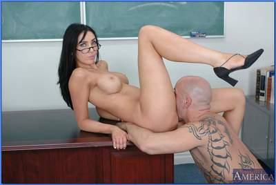 Gorgeous teacher in glasses Diana Prince taking huge dick in her slit