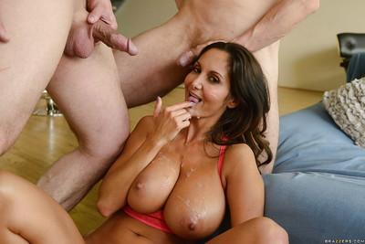 Big boobed MILF Ava Addams pulling down yoga pants for hardcore DP