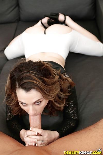 Hot MILF Jordyn Eve giving head to massive dick after finger fucking