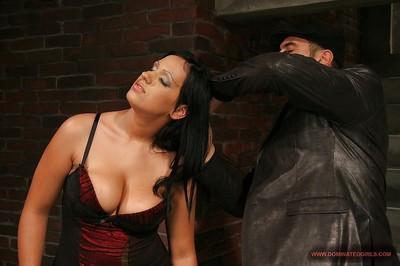 Submissive bound brunette MILF gets her big tits tortured