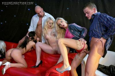Stupendous gals with big tits get pissed on and fucked hardcore