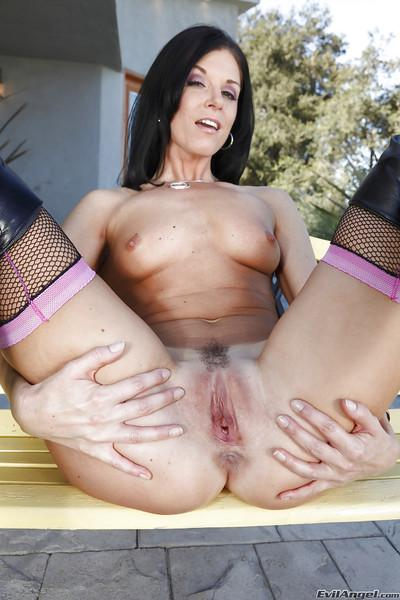 Hot MILF in high heeled boots India Summer slipping off her bra and panties